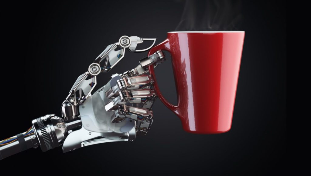 Mech hand holding a red coffe cup with hot coffee
