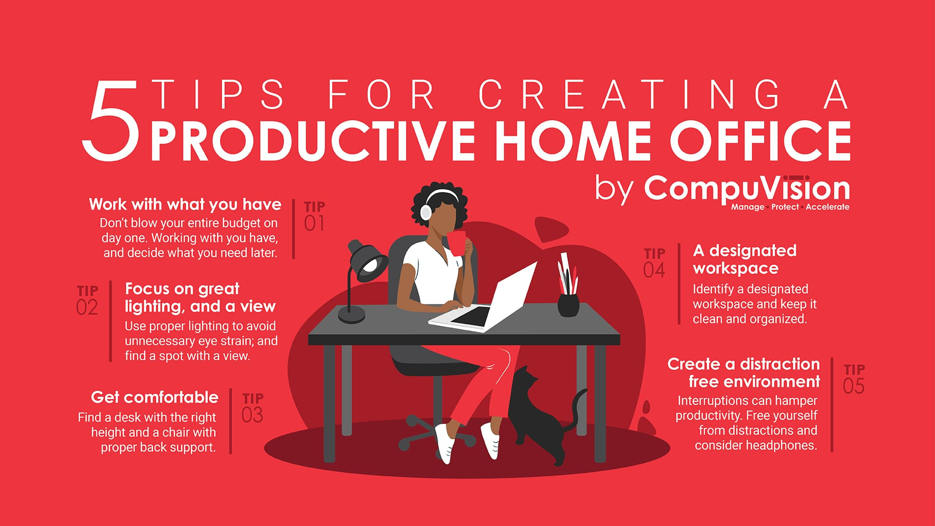 Infographic 5 Tips For Creating A Productive Home Office Compuvision