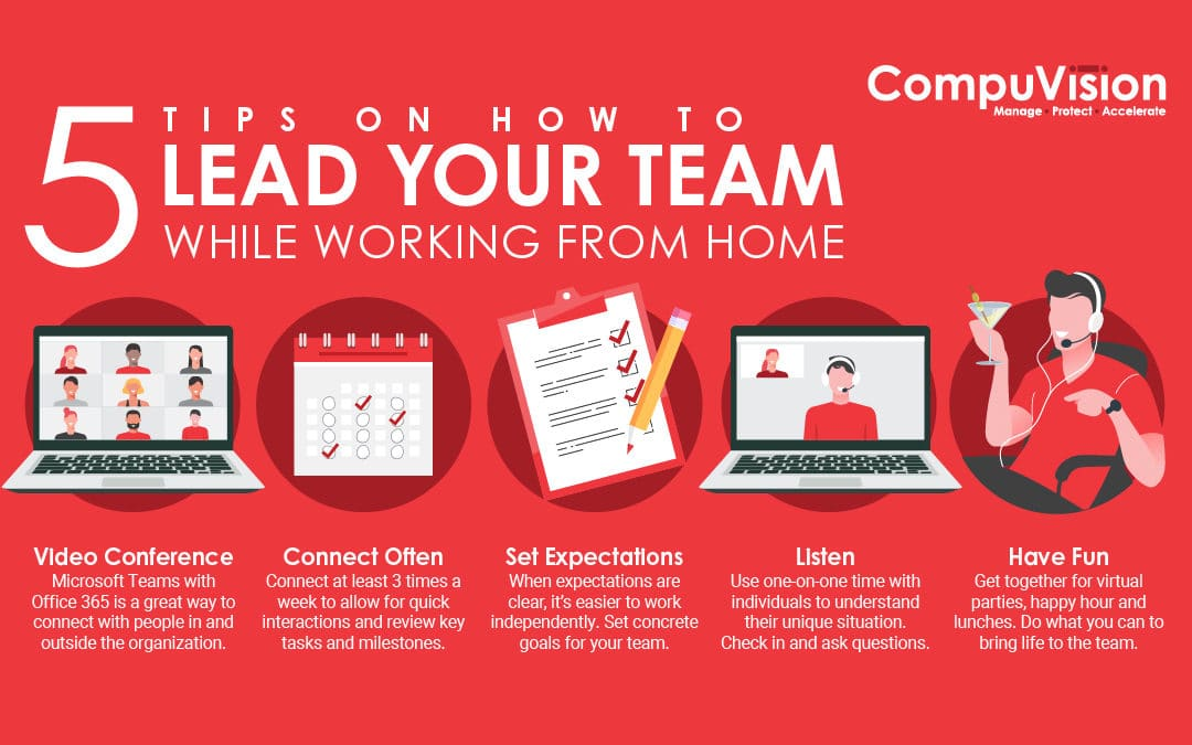 Infographic: 5 Tips on How to Lead Your Team While Working From Home